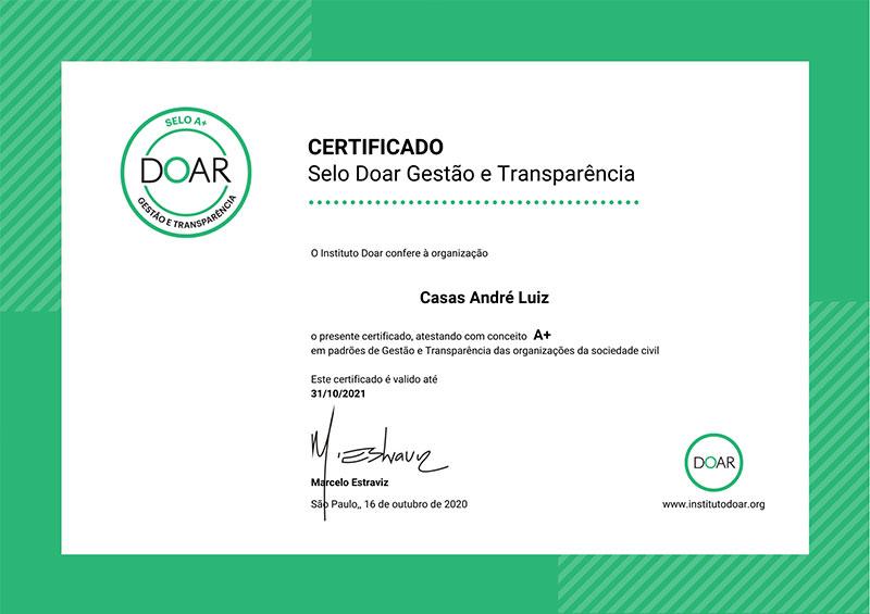 Certificado Doar A+ de Gestão e Transparência - Casas André Luiz